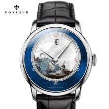 Szwajcaria Top luksusowej marki PONIGER mężczyźni oglądać import z japonii automatyczne mechaniczne zegarki na rękę MOVT dekoracje Dial Sapphire P723 1