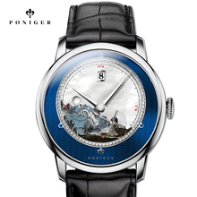 สวิตเซอร์แลนด์ TOP Luxury ยี่ห้อ PONIGER นาฬิกาผู้ชายญี่ปุ่นนำเข้าอัตโนมัติ MOVT นาฬิกาข้อมือทิวทัศน์ Dial Sapphire P723 1