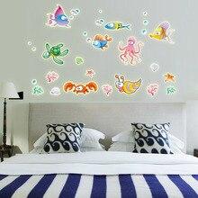 Noche Luminosa 3D Pegatinas de Pared Creativo de Brillante Colorido de Dibujos Animados Underwater World Fish Calcomanías de Vinilo para la Habitación Del Bebé Decoración de La Pared