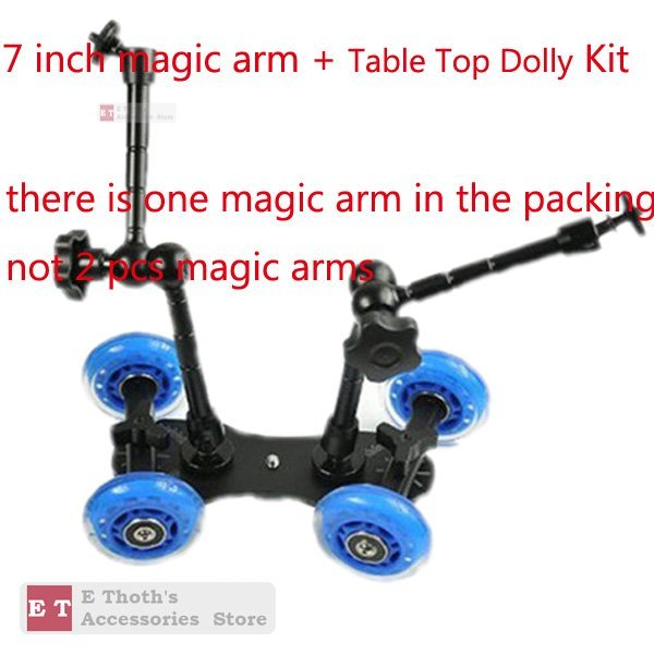 "WHOLESALES for Table Top Dolly Kit 7"" Magic Arm Skater Wheel Truck Stabilizer For 5D2 7D Camera"