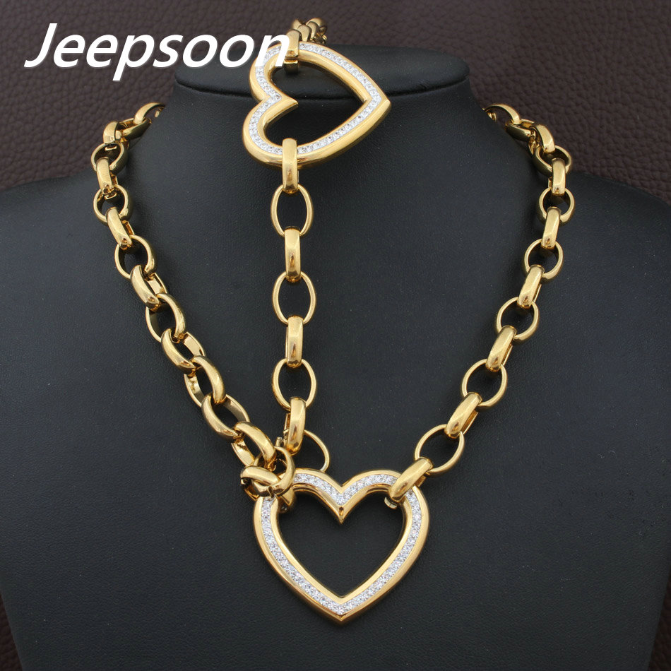 High Quality Fashion Jewelry Stainless Steel Chain Heart Necklace & Bracelet Set For Woman SBJGABDC