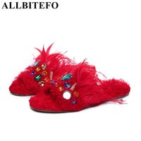 ALLBITEFO Large Size 33 43 Brand Shearling Colors Rhinestone Women Sandals Summer Sandals Gladiator Sandals Women