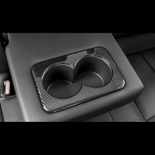 цена на For Nissan X-trail X Trail T32 2014-2018 ABS Matte/Carbon Fibre Rear Seat Water Cup Holder Protection Cover Trim Sticker 1pcs