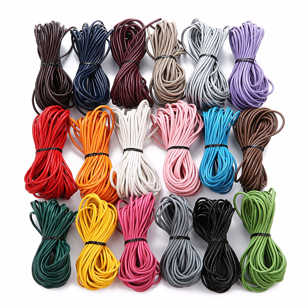 LOULEUR 10meter/lot 2mm Genuine Round Leather Cord Jewelry Cord For Leather Bracelet Thread Rope Necklace Jewelry Making Finding