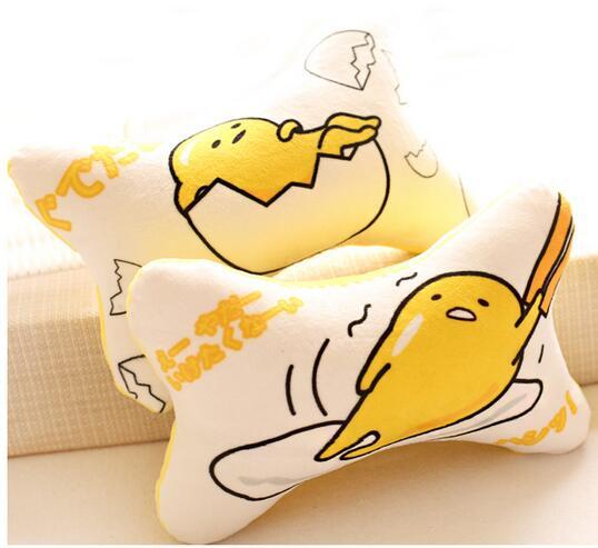 Candice guo! super cute plush toy lazy egg Gudetama creative car bone shape neck pillow head cushion birthday Christmas gift 1pc