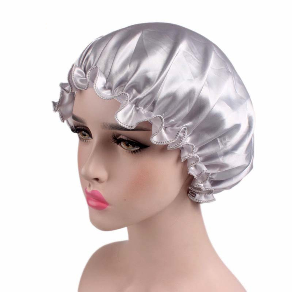 Women Solid Salon Flounced Soft Headwear Night Accessories Sleeping Cap Chemotherapy Elastic Band Satin Portable Hair Care(China)