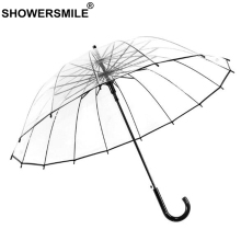 SHOWERSMILE Transparent Clear Umbrella Automatic Women Men Wedding Parasol For Bride Brand Long-Handle Rain