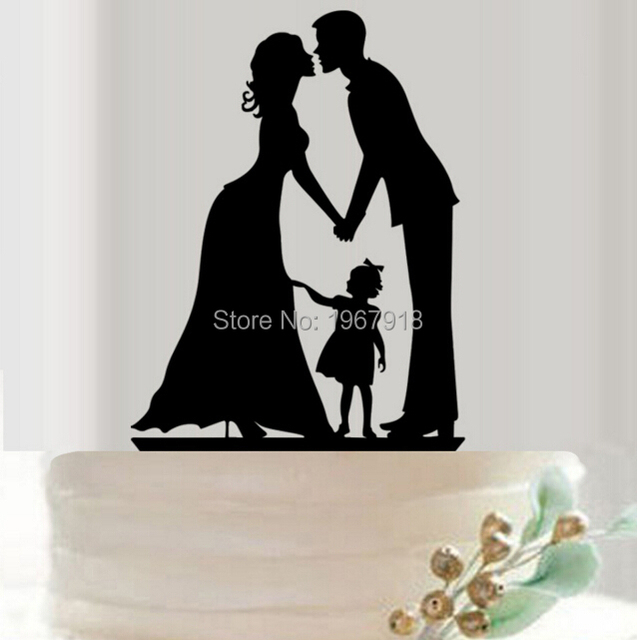 Family Bride Groom Cake Topper With Lovely Girl Daughter Silhouette Wedding