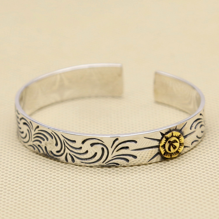 Solid 925 Sterling Silver Cuff Bangle & Bracelet Men 11mm Wide Band Vintage Indian Style Eagle Vine Handmade Silver 925 Jewelry vintage alloy eagle shape bracelet for men
