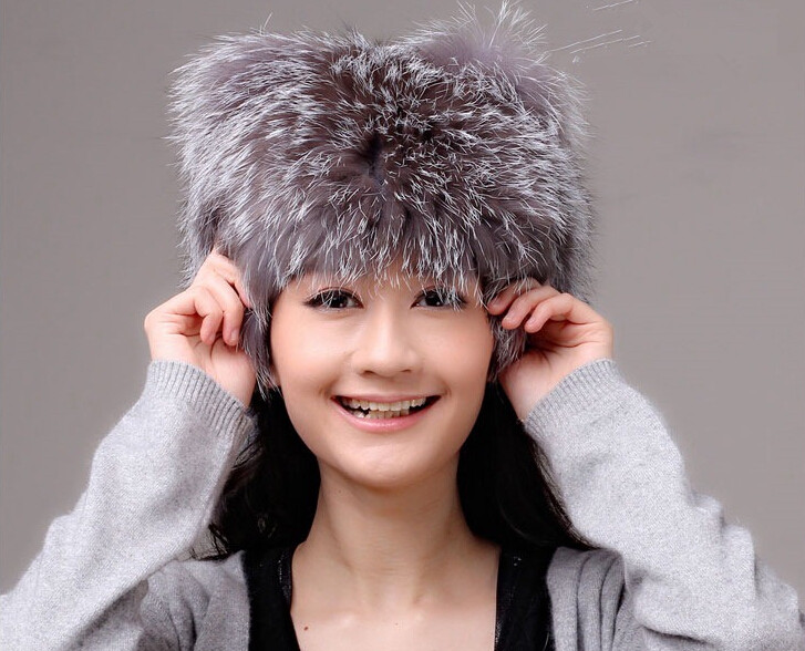 Real silver fox fur hat for women natural fur cap autumn winter warm ladies fashion knitted beanie H244 winter female fox fur hat autumn and winter real natural raccoon fur cap women warm fashion free shipping
