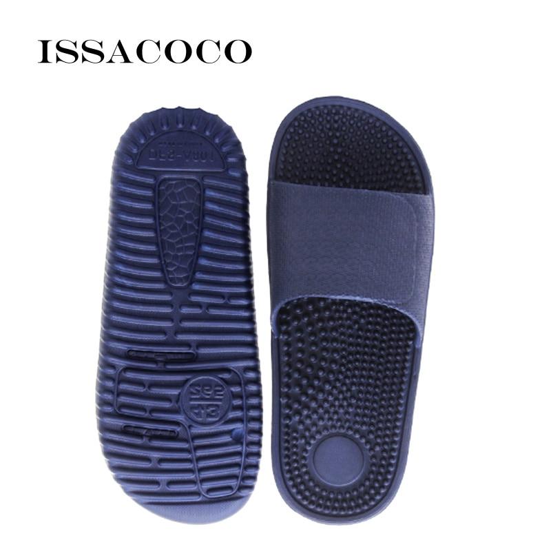 ISSACOCO 2019 Men's Flat Indoor Massage Slippers Men Home Non slip Massage Slippers Zapatos Hombre Beach Flip Flops Men's Slides|Slippers|   - AliExpress