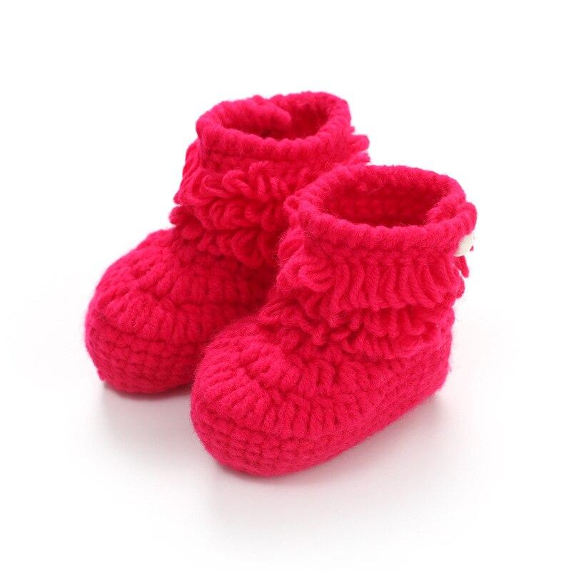 New Fashion Baby Crib Shoes Crochet Knit Fleece Boots For Boys&Girls Lovely Warm Infants Socks Handmade Wool Boots 2018 Winter