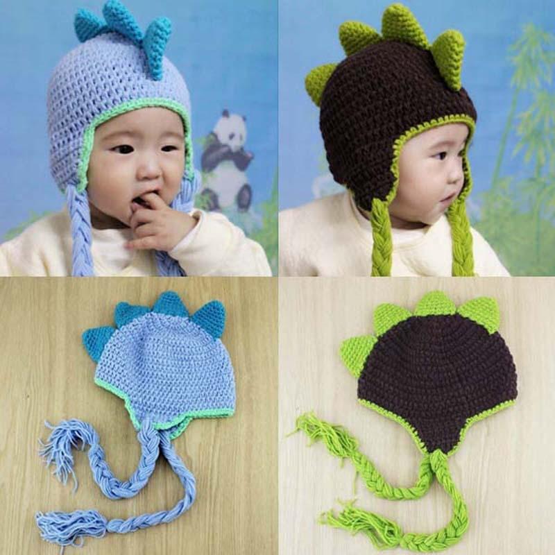 Dinosaur Design Baby Hat Crochet Knit Cotton Children Animal Beanie
