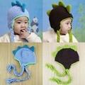 Dinossauro chapéu de crochê malha de algodão animais Beanie Earflaps chapéu de inverno infantil H140