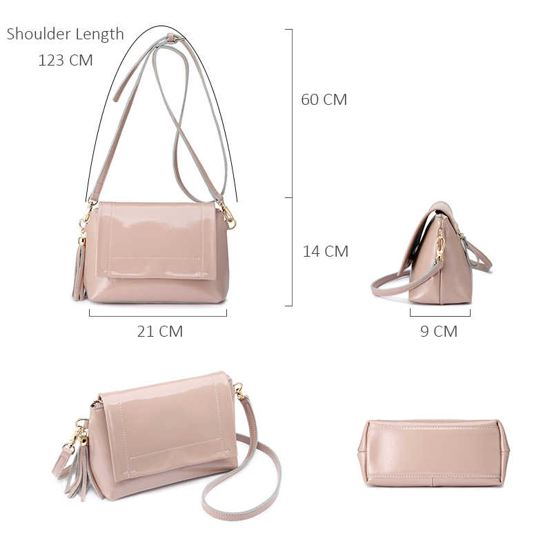 REALER crossbody bags for women soft patent Split leather ladies shoulder messenger bag female fashion evening bag with tassel