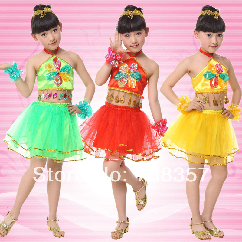 Children's Day Chinese Folk Costumes Girls Dress Apron Skirt Suit Stage Performaming Clothes