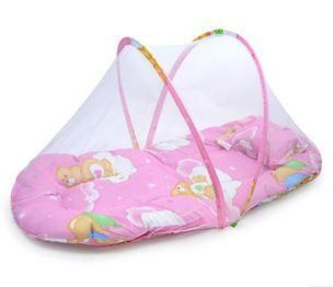 sommarstil spädbarn Portable spjälsäng med kudde och vadderar Vikbar myggnät baby spjälsäng