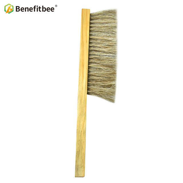 Benefitbee Beekeeping Tools Wood Bee Sweep Brush Two Rows Horsetail Hair New Bee Brushes Beekeeping Equipment for Apiculture