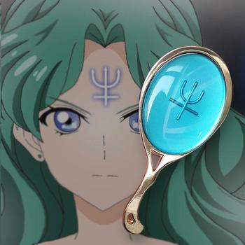 Sailor Moon Neptune lusterko kosmetyczne Cosplay Mini metalowe ręczne lustro do makijażu dzieci lustro prezent Vanity małe lusterko kieszonkowe tanie i dobre opinie TEAEGG Nie posiada Cosplay Makeup Tool Podświetlany Sailor Moon MIRROR Sailor Neptune mirror