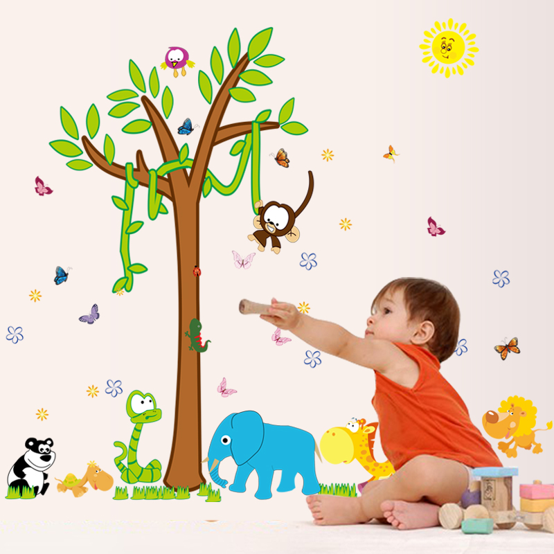 Free Shipping home decor wallpaper DIY removable 3d moneky tree kids bedroom wall decals art stickers