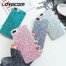 LOVECOM Glitter Toz Telefonu iphone için kılıf XS XR XS Max X 5 5 S 6 6 S 7 8 Artı Bling kristal Yumuşak TPU Telefon arka kapak ...