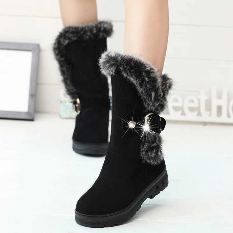 2017 Winter Children Ankle Plush Boots For Girls Flat With Rubber Snow Boots Boys Waterproof Non-slip Shoes Insole 22.5~24.5cm