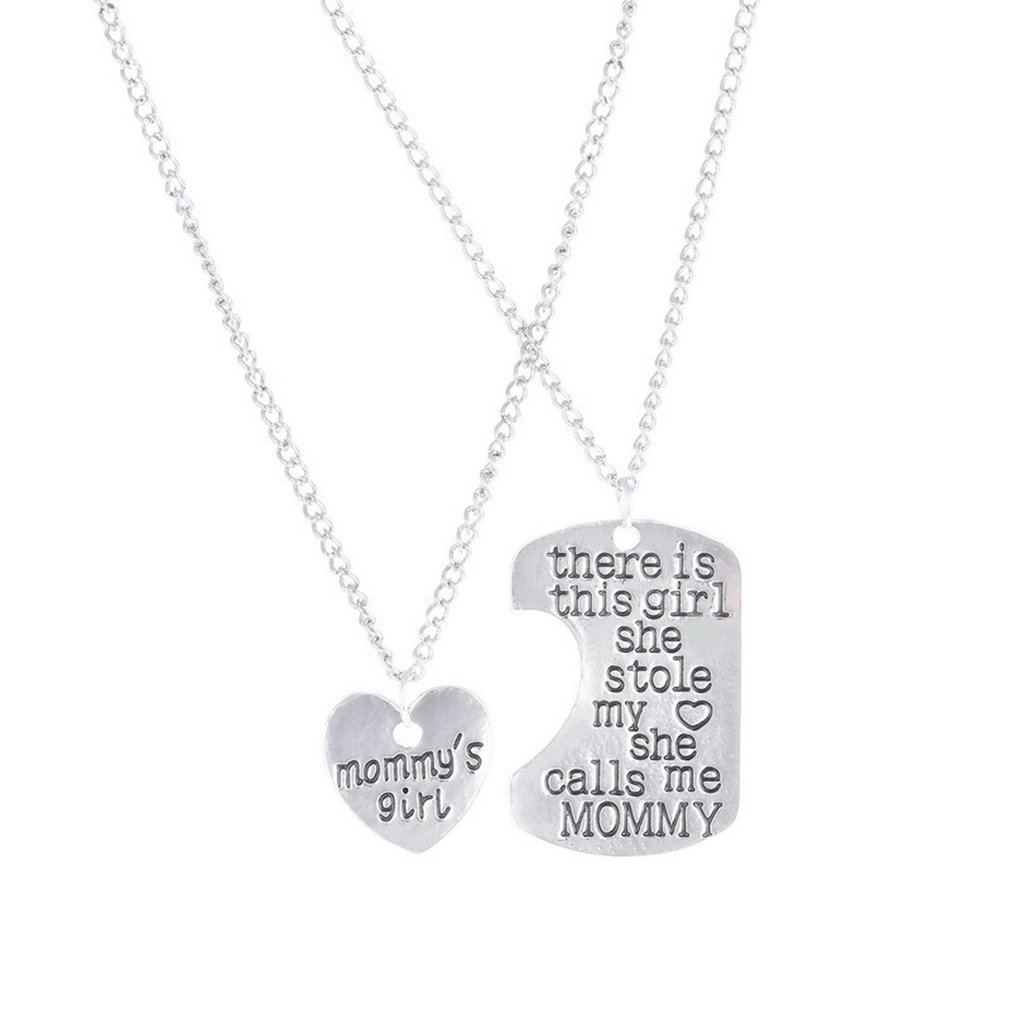 1 PC Fashion Jewelry Silver Family Love Chain Necklace Pendant Jewelry Mommy Daddy Gifts Love Present Unisex Chain Jewelry