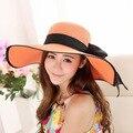 Nuevas Llegadas Estilo Verano 2016 Playa Sombrero de Sol Del Todo-Fósforo Grande Bowknot Decorativos Señoras Sombrero UV Sombrero de Sol 8 Colores