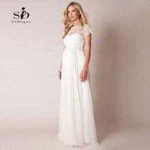 Wedding Dress 2018 Lace Plus size Ppregnant Bride Simple Chiffon Sweep-floor Short Sleeves Informal