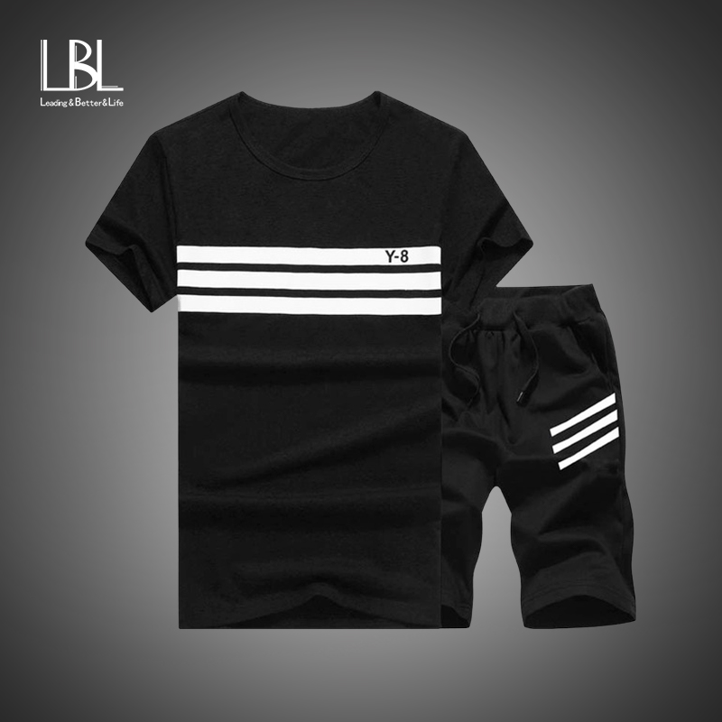 Summer Men Set Sporting Suit Men Short Sleeve T Shirt+Shorts Sets Two Pieces Fitness Set Sweat Suit Fashion Casual Tracksuit Men