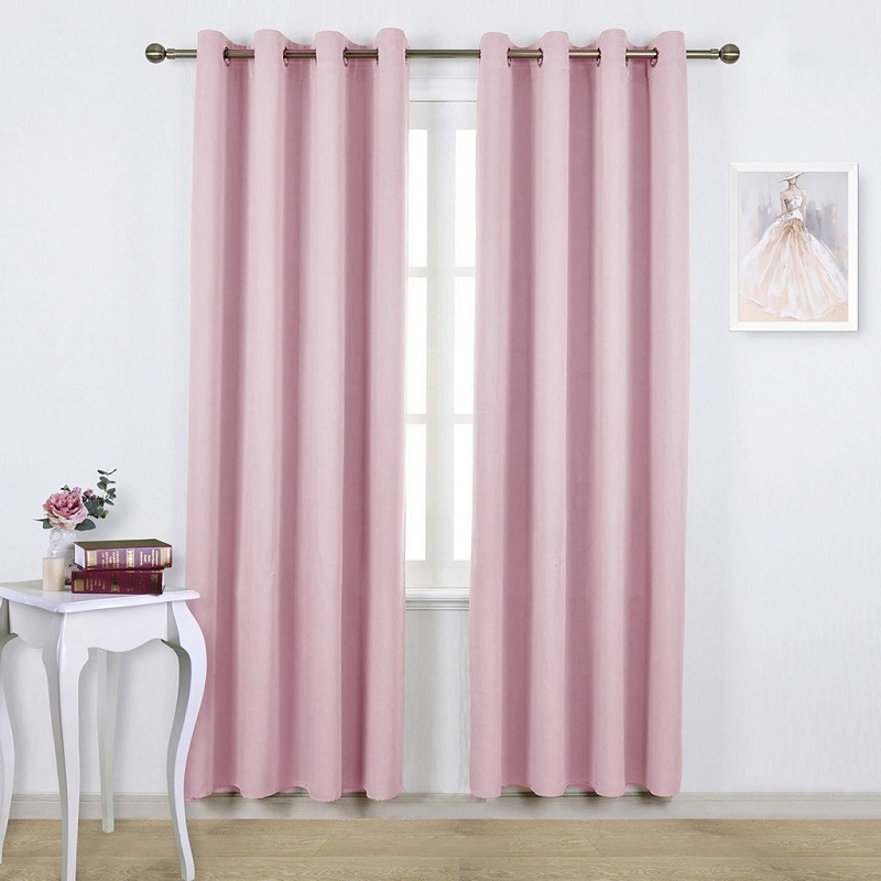 120cm high Bay window Purple Blackout Curtains for Bedroom Solid ...