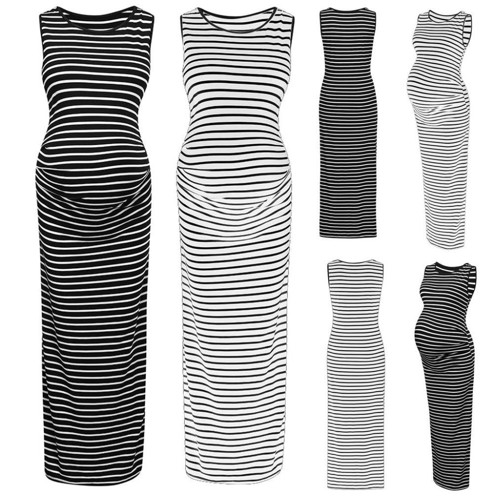 1179e3747 Maternity Dress Polyester 2019 Pregnant Maternity Nursing Stripe Breastfeeding  Summer Sleeveless Dress Ropa Premama Embarazadas