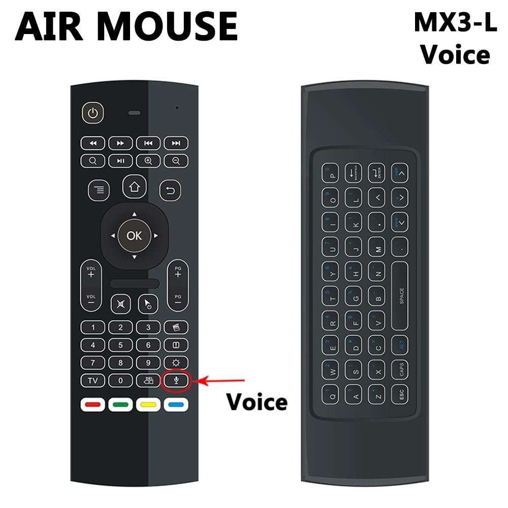 MX3 MX3-L Hintergrundbeleuchtung Air Maus T3 Fernbedienung mit Stimme 2,4G RF drahtlose Tastatur Für tx3 mini A95X X96 H96 pro Android TV Box