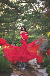 Image 5 - 2019 Sexy Maternity Dresses Photography Props Off Shoulder Women Pregnancy Dress For Photo Shooting New Tail Maxi Maternity Gown