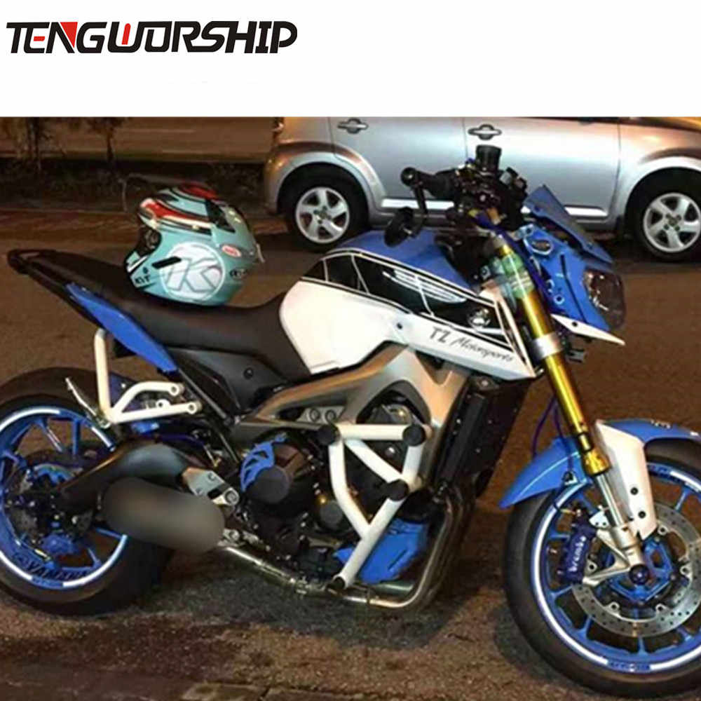 Black/White Stunt Cage Engine Guard Crash bar for Yamaha MT 09 FZ 09 Tracer  MT-09 FZ-09 Motorcycle Crash Bar Engine Guard Frame