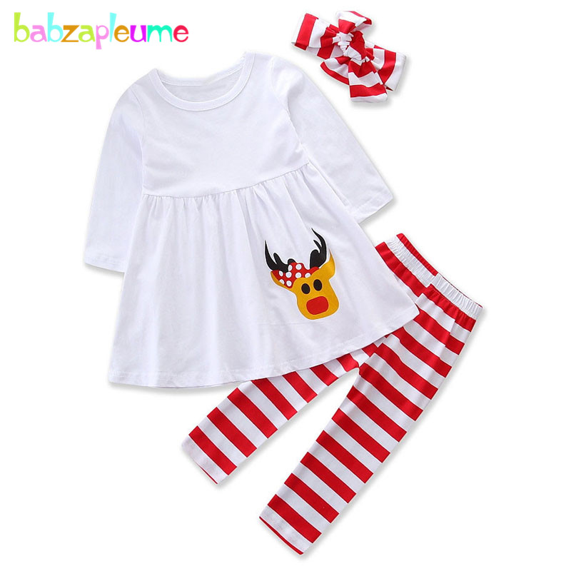 3PCS/1-5Years/Christmas Outfits Toddler Girls Clothing Set Cotton Baby T-shirt+Stripe Pants Children Pajamas Kids Clothes BC1420