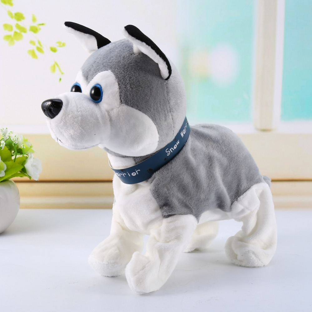 Электронная плюшевая прогулочная собака со звуковым управлением, умная собака с голосовым управлением, может ходить и лаять в подарок детям|Интерактивные игрушки животные|   | АлиЭкспресс