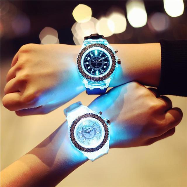 GENVIVIA mujeres amantes del hombre moda LED Backlight deporte impermeable cuarzo relojes de pulsera saat relogia kol saati reloj montre xfcs