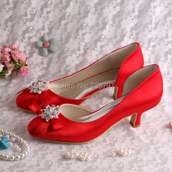 20 Colors)White Pearl Wedding Shoes Low Heel Pumps Pearls Red ...