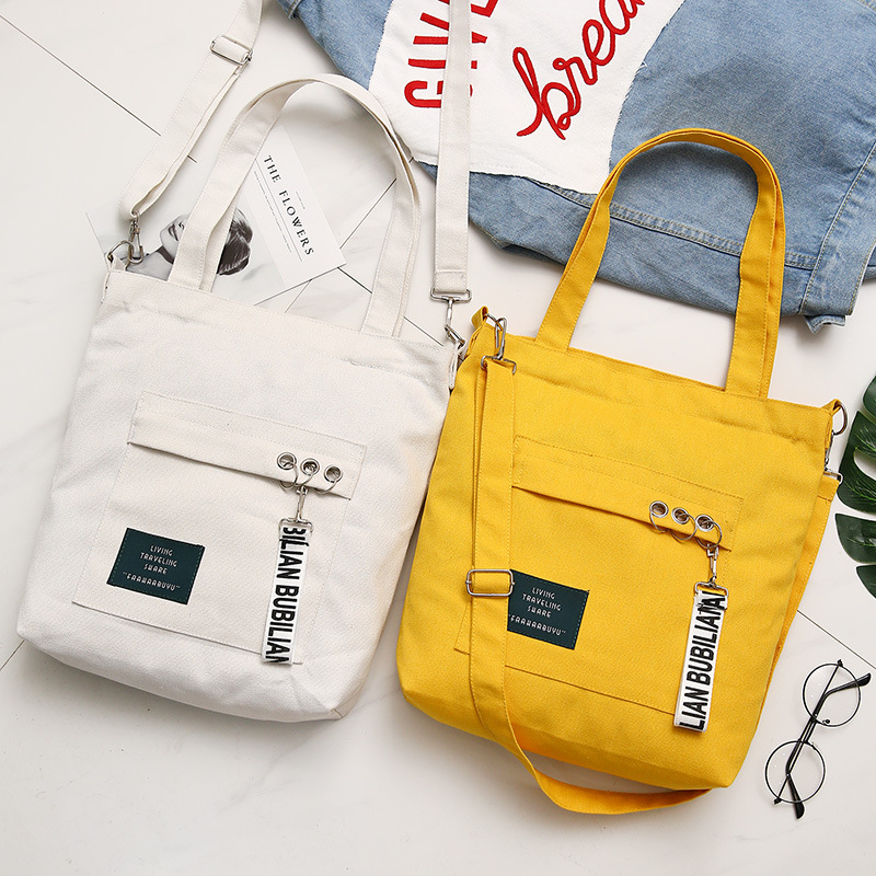 Women Fashion Canvas Shoulder Bags Girls Female Eco Cloth Handbag Tote Reusable Foldable Large Shopping Bag Cotton Lining Pouch