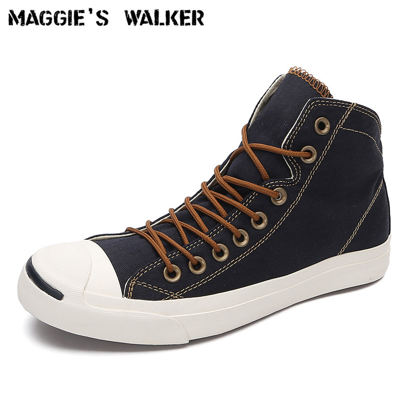 Walker de Maggie Nouvelle Arrivée Hommes Toile Casual Chaussures de Mode De la Jeunesse Laçage Plate-Forme Haut-dessus Toile Chaussures de Marche Taille 39 ~ 43