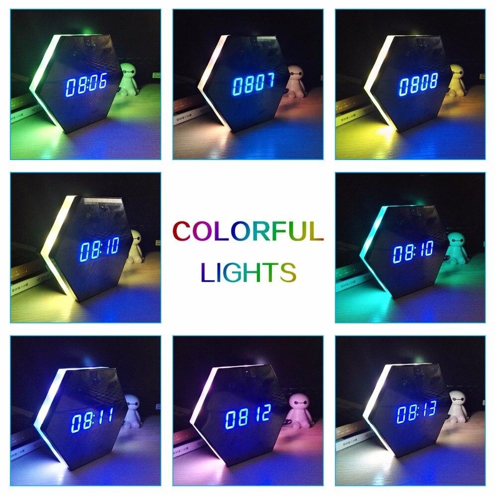 Мини часы для камеры HD 1080P WiFi умные зеркальные часы с ночным видением двухстороннее аудио Обнаружение движения Красочный Светодиодный свет kamera - 4