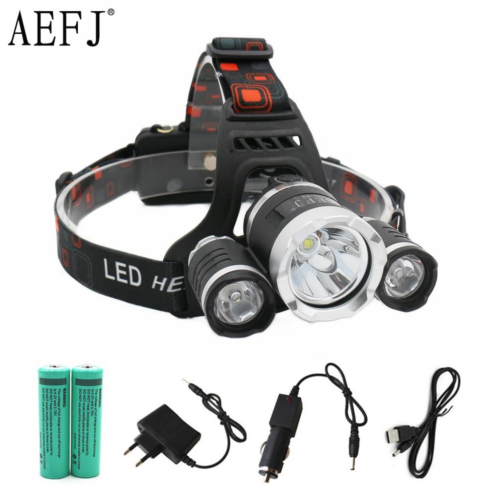 13000LM LED T6+2R5 Headlamp Headlight Head Lamp lighting Light Flashlight Torch Lantern Fishing+18650 battery+Car USB AC Charger