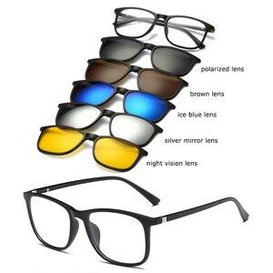 Image 5 - Belmon מחזה מסגרת גברים נשים עם 5 חתיכה קליפ על משקפי שמש מקוטבות מגנטי משקפיים זכר נהיגה קוצר ראייה אופטי RS477