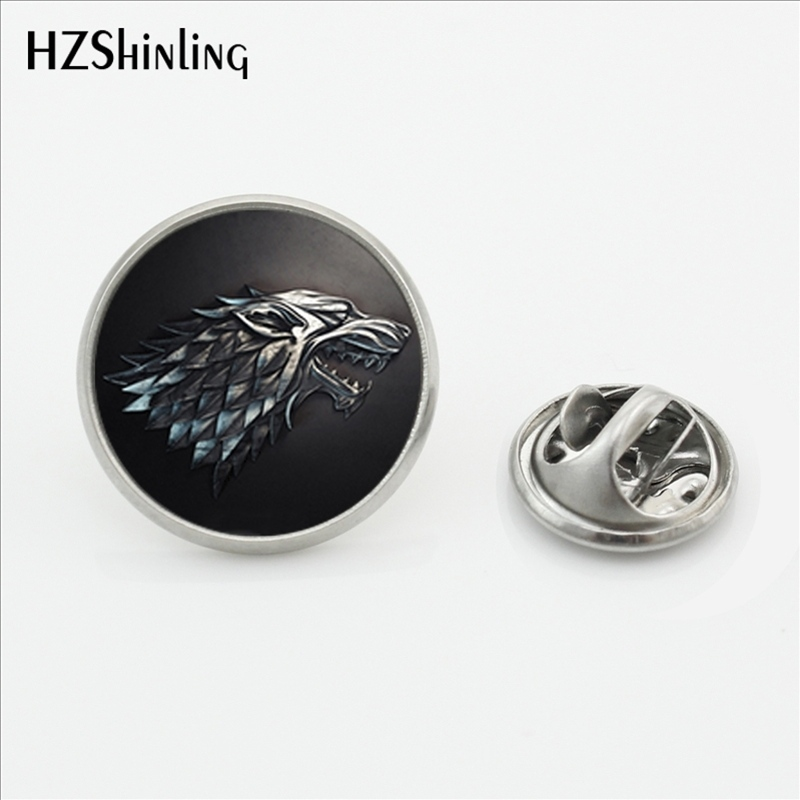 2017 New Arrival Game of Thrones Lapel Pin Fashion Jewelry Glass Dome Dragon House of Stark Stainless Steel Collar Pin Brooch image