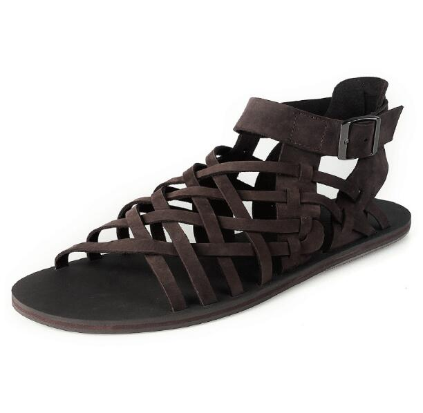 Korean Style High Top Cow Leather Rome Gladiators Summer Beach Sandals For Men