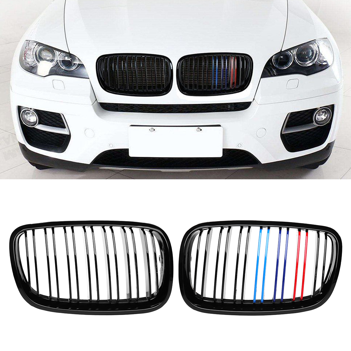 2piece Car Bumper Hood ABS Glossy Black M Color Front Grille Grill Double Slat Kidney for BMW X5 X6 E70 E71 2007 2013