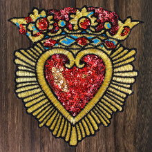 1pc Bead Piece Embroidered Heart-shaped Patch Sequins Patch Sew onT-shirt DIY Fashion Decoration Badge Applique TH1154(China)