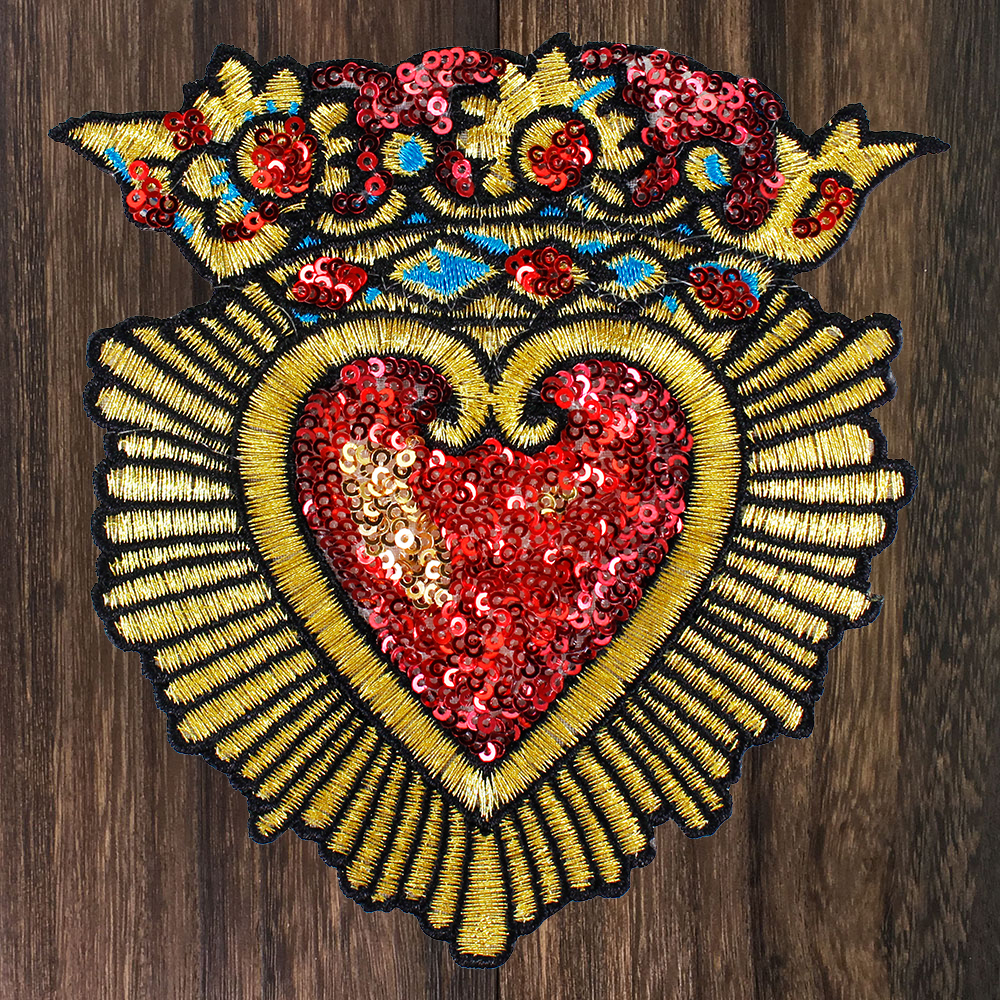 Sew on Craft Patch Beaded Thread Applique 1pc Acrylic Stone Plastic Bead Patch