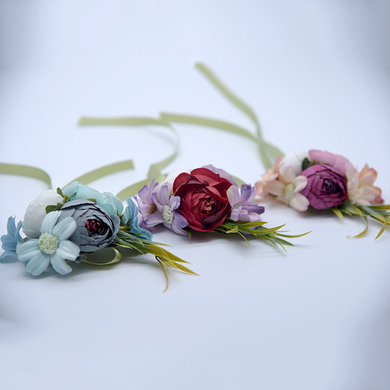 Artificial Silk Rose Flower Bride Women Wrist Corsage Wedding Flowers Party Decoration Flower Bracelet For Bridesmaids